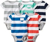 "Carter's Baby Boys' ""Stripe & Pocket"" 5-Pack Bodysuits"