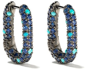 Selim Mouzannar sapphires and turquoise Link earrings