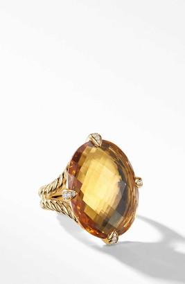 David Yurman Chatelaine(R) 18k Gold Statement Ring with Honey Quartz & Diamonds
