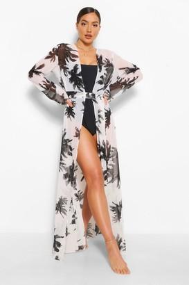 boohoo Palm Print Belted Maxi Kimono