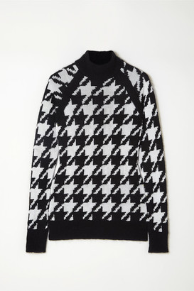Balmain Button-embellished Houndstooth Knitted Sweater - Black