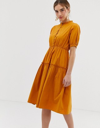 Y.A.S high neck balloon sleeve midi dress-Brown