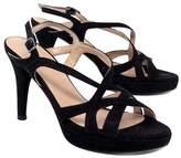 Stuart Weitzman Black Textured Strappy Sandal Heels