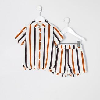 River Island Mini boys ecru stripe shirt outfit