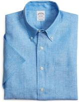 Brooks Brothers Slim Fit Solid Linen Short-Sleeve Sport Shirt