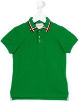 Gucci Kids - cross stripe polo shirt - kids - Cotton/Spandex/Elastane - 5 yrs