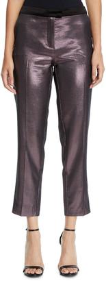 Pinko Metallic Cropped Straight-Leg Pants