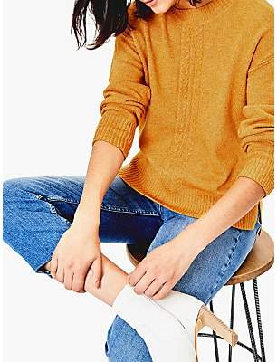 Oasis Caddie Cable Knit Jumper, Ochre