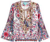 TAJ Embellished Printed Silk Top