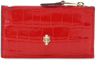 Alexander McQueen Croc Embossed Leather Chain Wallet