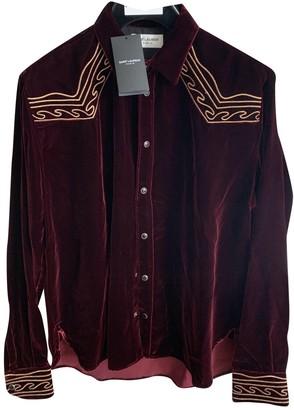 Saint Laurent Burgundy Velvet Shirts