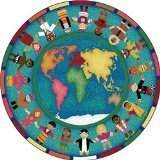 Joy Carpets Kid Essentials Early Childhood Round Hands Around The World Rug, Multicolored, 7'7 by Joy Carpets