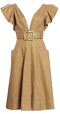 Oscar de la Renta Women's V-Neck Ruffle Sleeve Midi Dress