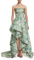 Monique Lhuillier Strapless High-Low Lace Gown, Mint/Multi