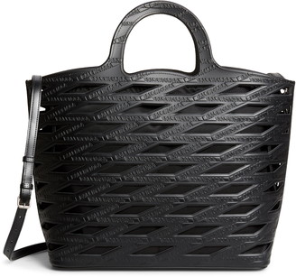 Balenciaga Neo Logo Embossed Cutout Basket Tote