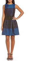 Donna Ricco Dot Jacquard Fit-and-Flare Sleeveless Dress