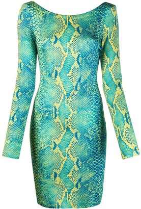Just Cavalli Snakeskin Print Fitted Dress