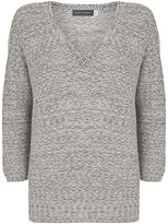 Mint Velvet Tape V Neck Knit, Grey