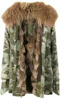 Mr & Mrs Italy Short camouflage fur lined parka