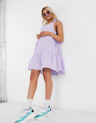 Monki Thelma sleeveless tie shoulder trapeze dress in lilac