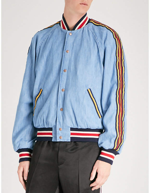 Gucci Striped-trim denim bomber jacket