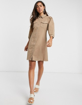 Vero Moda denim shirt dress with puff sleeves in camel