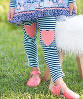 Navy & Teal Heart Stripe Leggings - Toddler & Girls