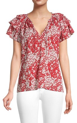 Sundays Bresson Floral Flutter-Sleeve Blouse