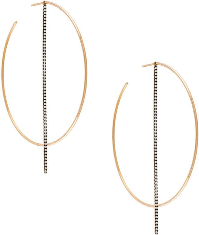 Diane Kordas diamond bar hoop earrings