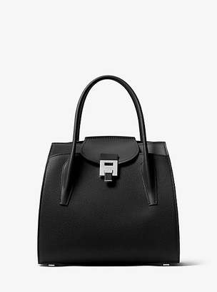 Michael Kors Bancroft Large Pebbled Calf Leather Satchel - Black