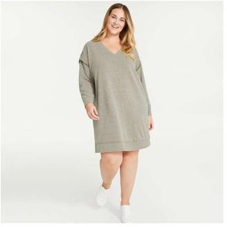Joe Fresh Women+ V-Neck Sweatshirt Dress, Dark Olive (Size 2X)