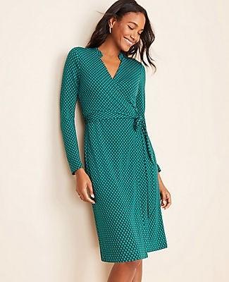 Ann Taylor Diamond Grid Wrap Dress