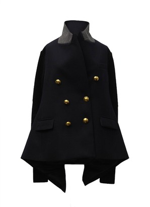Sacai Wool and Knit Jacket with Golden Buttons