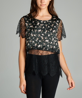 Tua Black Floral Lace-Overlay Crop Top