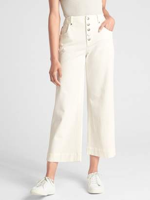 Gap High Rise Crop Wide-Leg Pants with Button-Fly