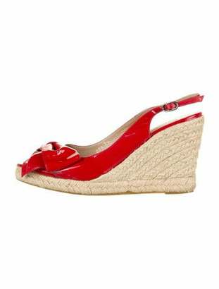 Valentino Patent Leather Bow Accents Espadrilles Red