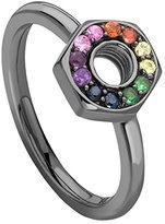 Missoma Black Rhodium Open Bolt Multi Sapphires Ring - Size M