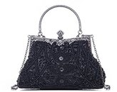 Clocolor Satin Beading Handmade Clutch Purse Evening Handbags Collection Louise Beaded and Sequined Evening Bag