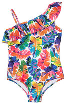 Milly Minis Childrenswear Banana Leaf One-Piece Swimsuit, Multicolor, Size 4-7