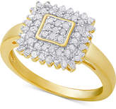 Macy's Diamond Square Ring (1/2 ct. t.w.) in Sterling Silver or 18k Gold-Plated Sterling Silver