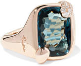 Pomellato Ritratto 18-karat Rose Gold, Topaz And Diamond Ring