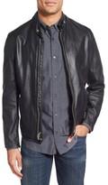 Schott NYC Men's Cafe Racer Slim Fit Leather Jacket