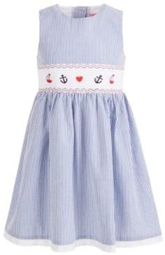 Baby Goodlad Baby Girls Seersucker Dress with Bunny Embroidery