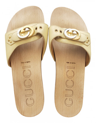 Gucci Web Beige Leather Sandals