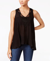 Jessica Simpson Lace-Inset Split-Back Top