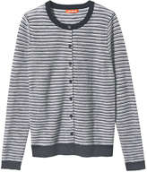 Joe Fresh Women's Stripe Crew Neck Cardigan, JF Midnight Blue (Size S)