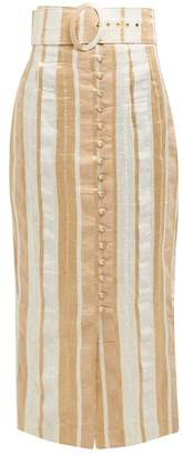 Cult Gaia Hera Striped Button-front Midi Skirt - Womens - Beige Stripe