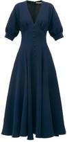 Emilia Wickstead Bria Flared Wool-crepe Midi Dress - Womens - Navy