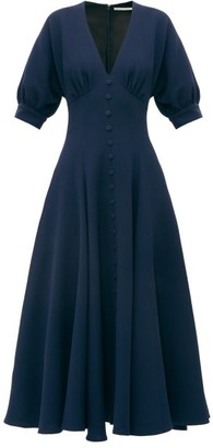Emilia Wickstead Bria Flared Wool Crepe Midi Dress - Womens - Navy