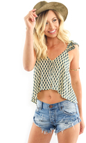 West Coast Wardrobe Sierra Printed Crop Top in Ivory/Jade